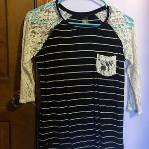 Empyre striped black and white lace pocket shirt